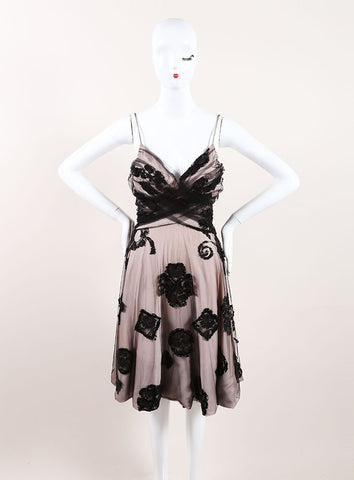 Giorgio Armani Black and Nude Tulle and Lace Sequin Embellished Sleeveless A-Line Dress Frontview