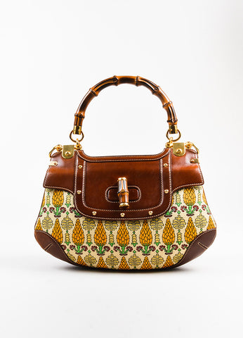 "Gucci Brown and Cream Canvas Leather ""Pigna"" Pattern Bamboo Handle ""Peggy"" Hobo Bag Frontview"