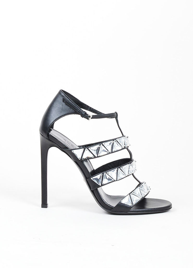 Gucci Black Leather Crystal Embellished Caged Sandals Sideview
