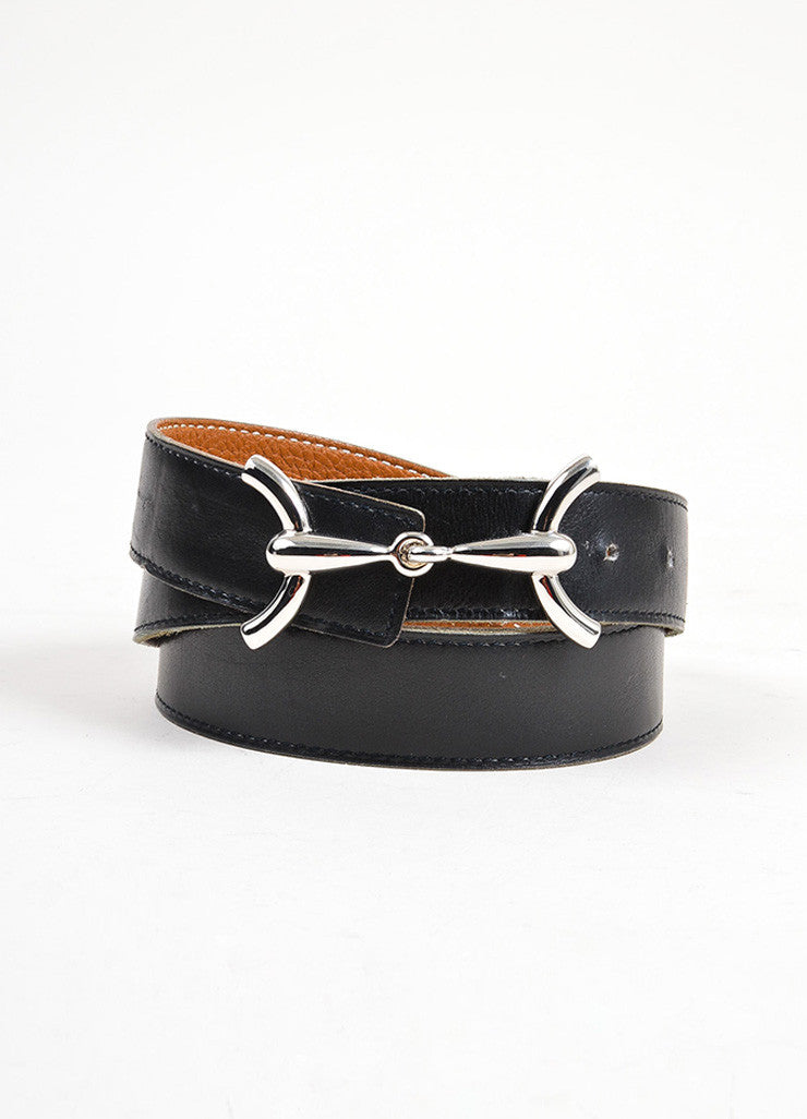 "Black and Brown Hermes Leather Reversible Horsebit ""H"" Belt Frontview"