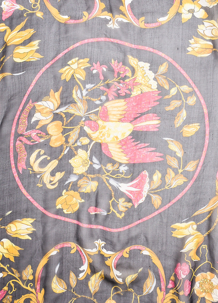 "Hermes Black and Multicolor Silk Floral Print ""Pierres d'Orient et d'Occident"" Scarf Detail"