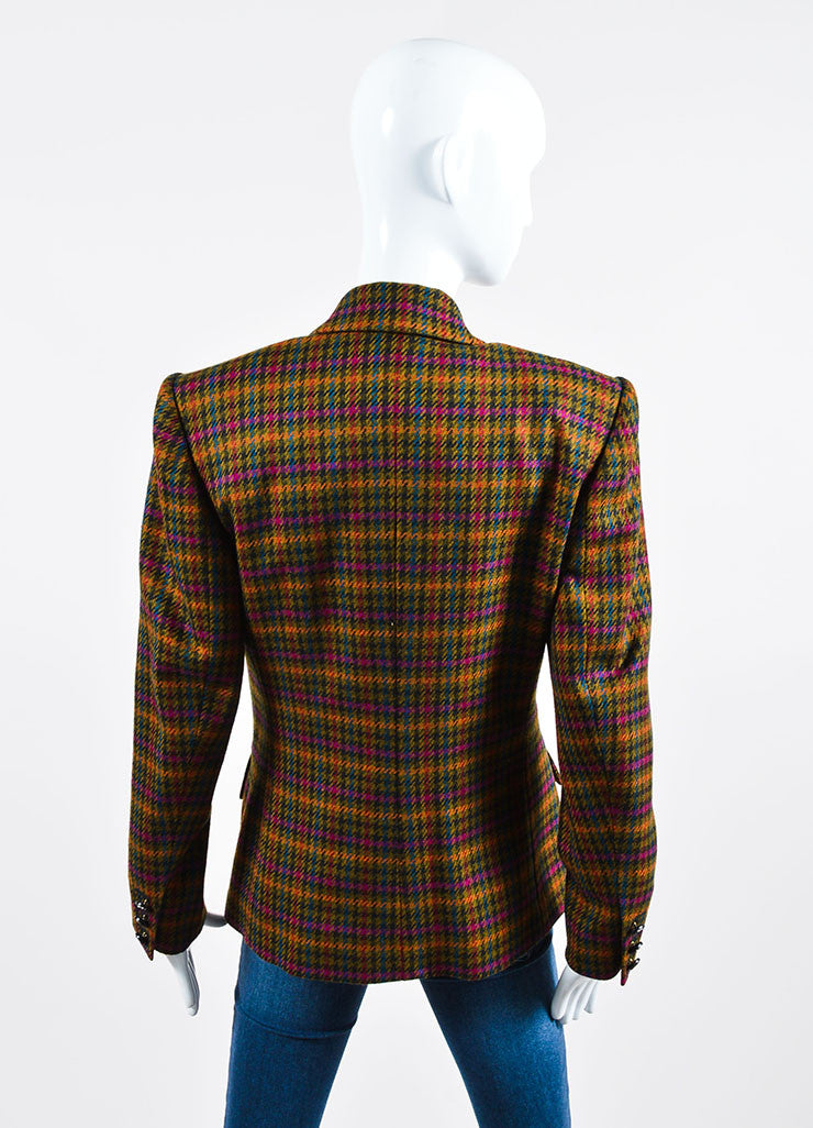 Multicolor Hermes Wool Houndstooth Long Sleeve Blazer Backview