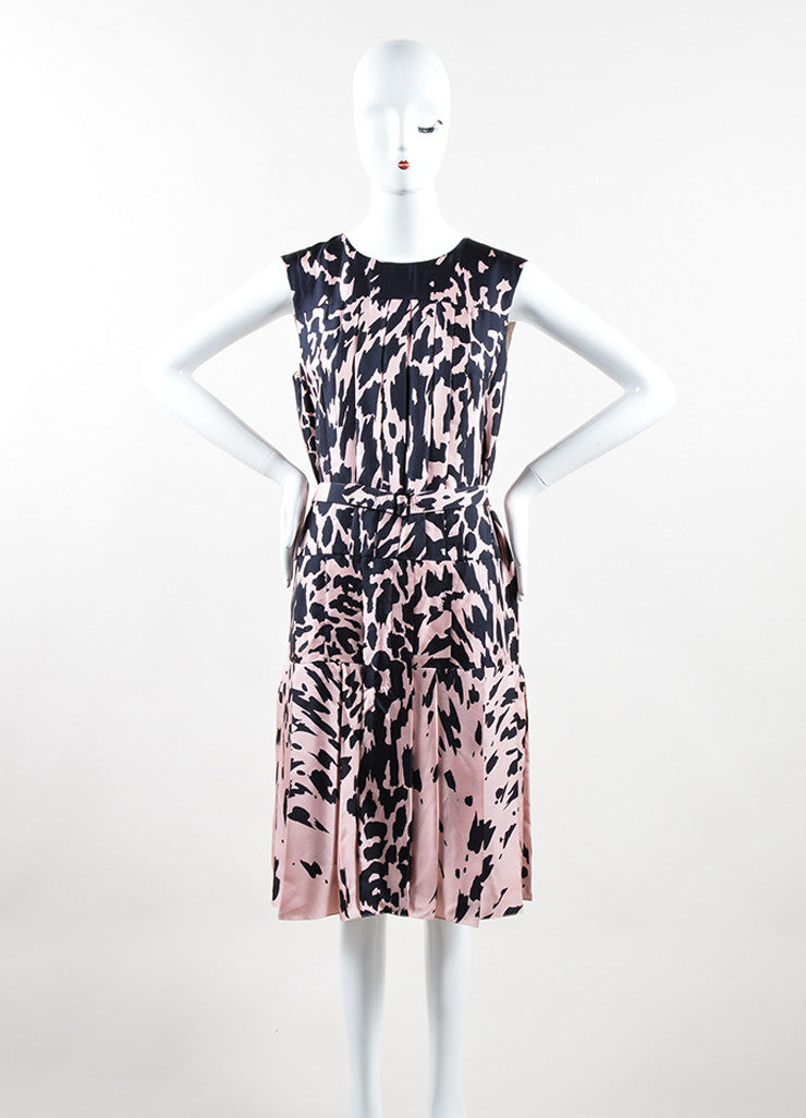 J. Mendel Pink and Black Silk Printed Pleated Belted Sleeveless Dress Frontview
