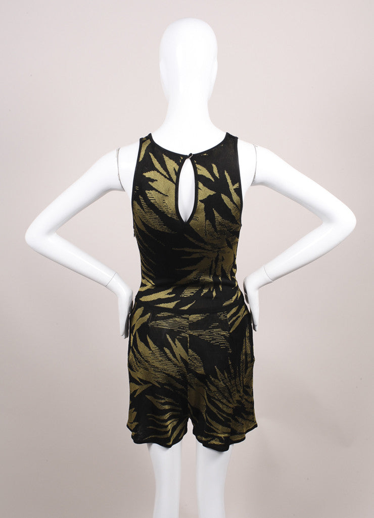Jason Wu Black and Green Botanical Palm Print Knit Sleeveless Romper Backview