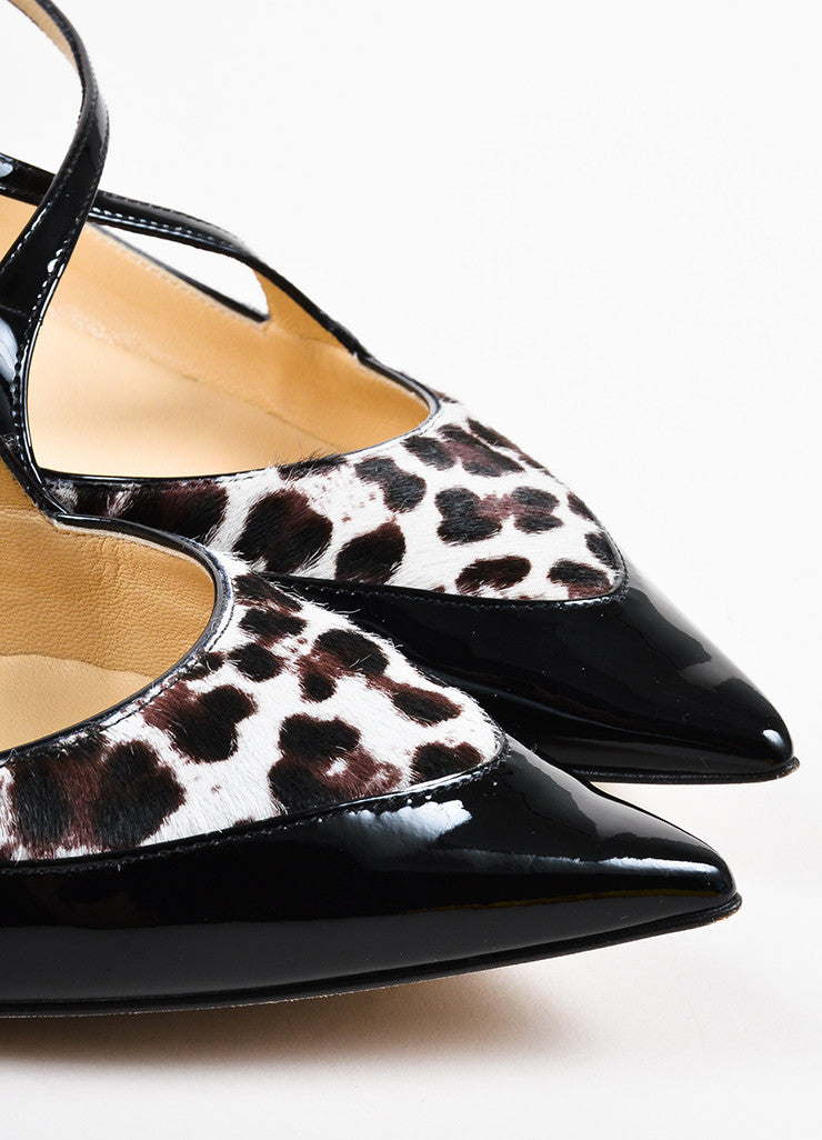 "Jimmy Choo Brown and Cream Pony Hair and Patent Leather ""Gamble"" Flats Detail"