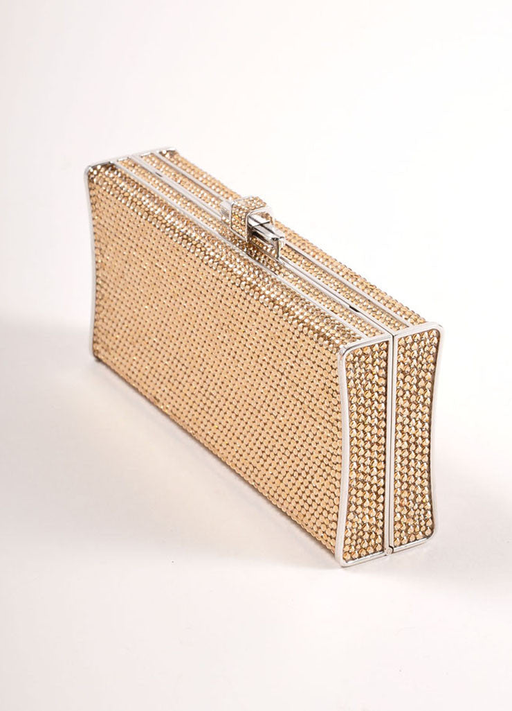 Judith Leiber Gold Crystal Rhinestone Small Rectangular Minaudiere Clutch Bag Sideview