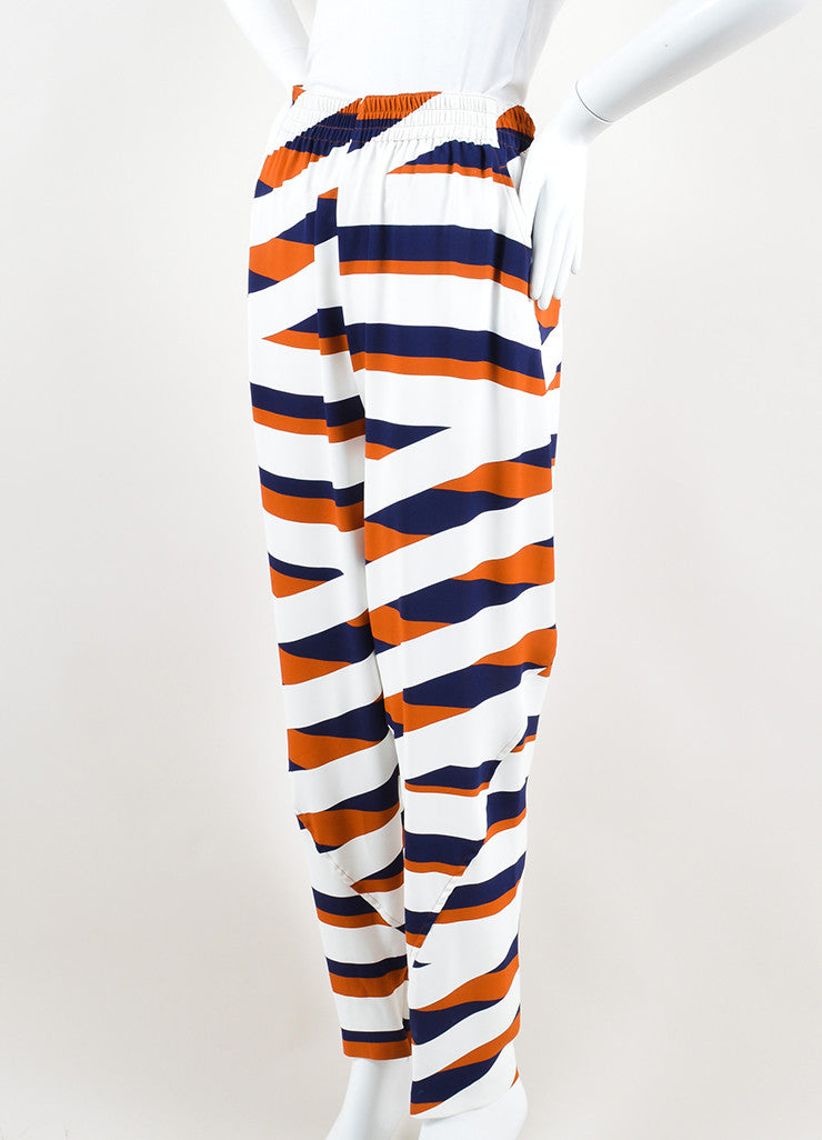 Navy, White, and Brown Kenzo Z Stripe Drop Crotch Jogger Trousers Sideview