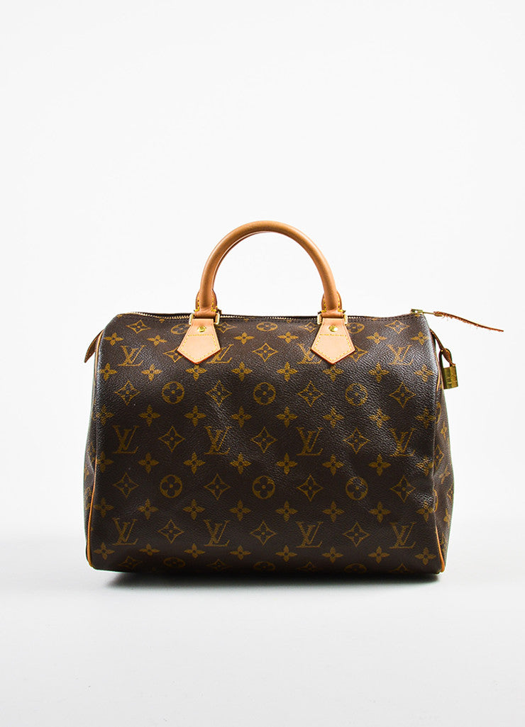 "Louis Vuitton Brown and Tan Coated Canvas Leather Trim Monogram ""Speedy 30"" Bag Frontview"