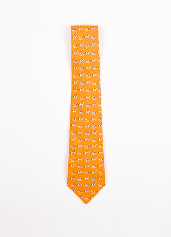 Men's Hermes Orange Silk Rocking Horse Jockey Print Necktie Front 2