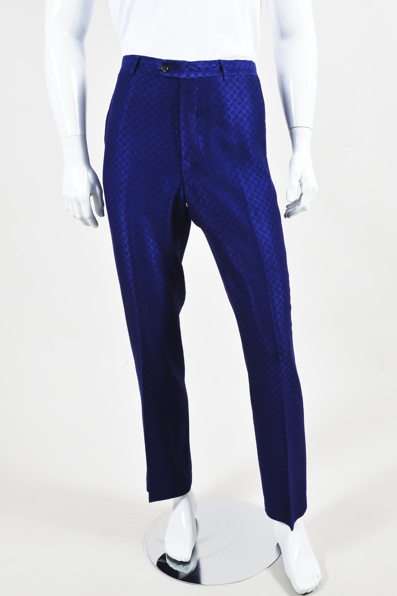 MEN'S Purple Roberto Cavalli Wool Knit Chevron Trousers Front