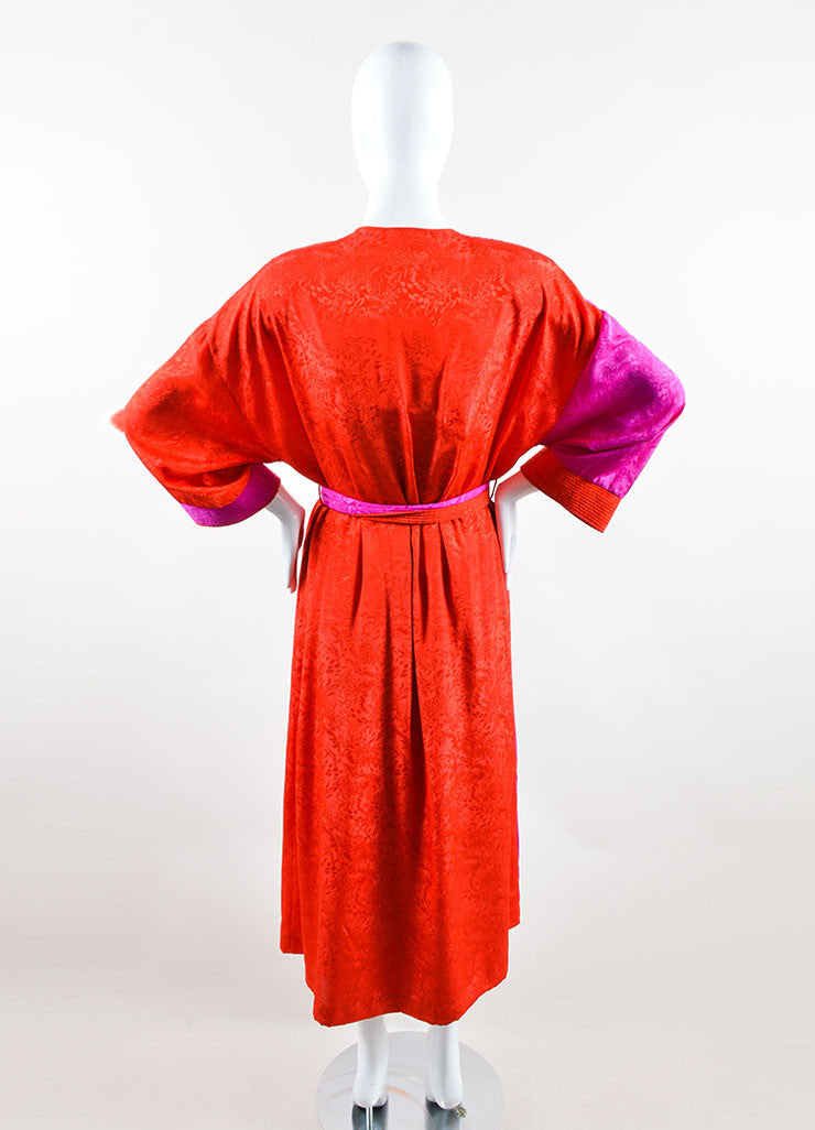 Mary McFadden  Red and Purple Floral Midi Dress With Belted Robe Backview