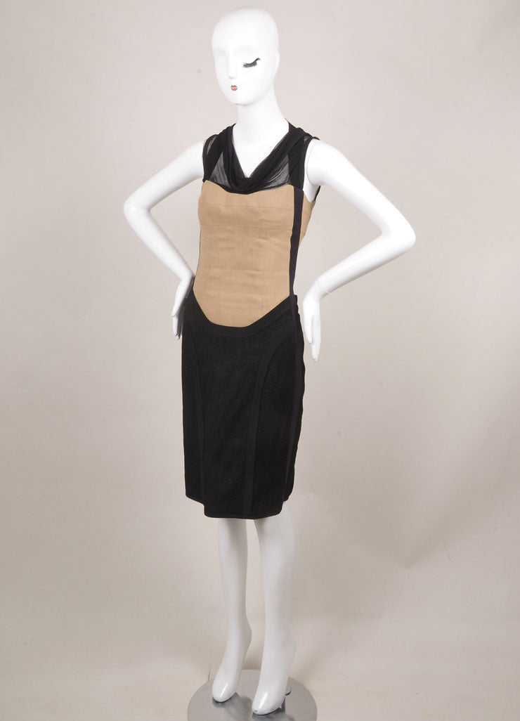 Narciso Rodriguez Black and Tan Sleeveless Cowl Neck Fitted Dress Sideview