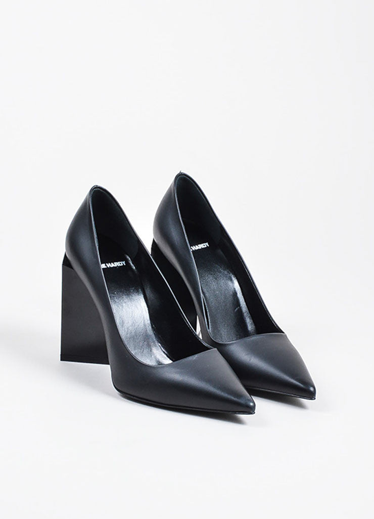 Pierre Hardy Black Leather Chunky Block Heel Pointed Toe Pumps Frontview