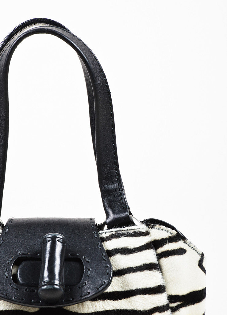 Prada Limited Edition Black and White Leather Pony Hair Zebra Patterned Mini Tote Bag Detail 2