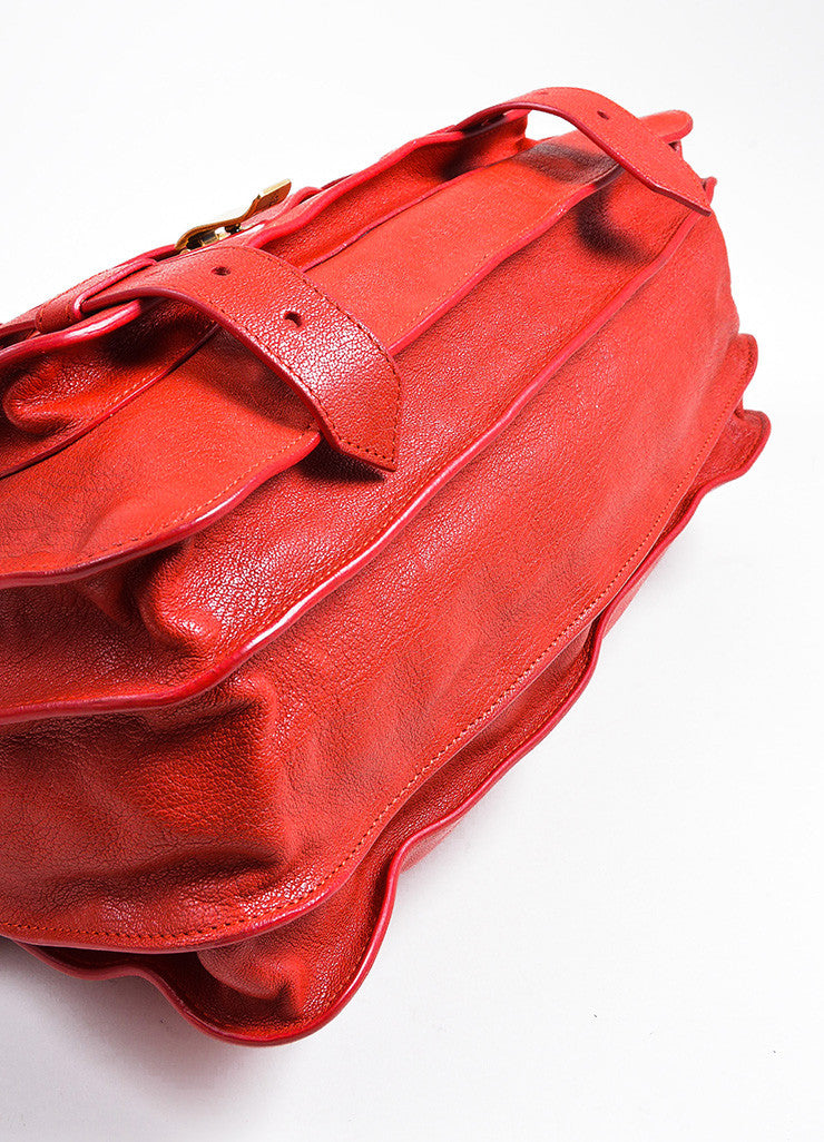Red Leather Gold Toned Hardware Proenza Schouler Large PS1 Satchel Bag Bottom View