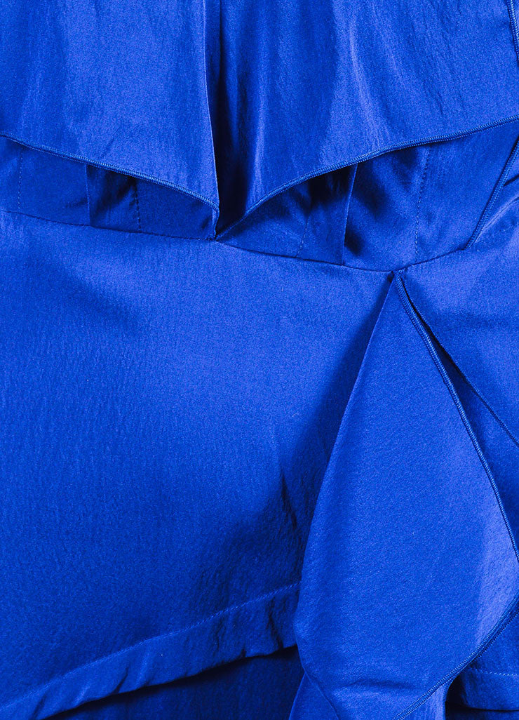 "Blue Roland Mouret Silk Ruffle Sleeveless ""Coppelia"" Gown Detail"