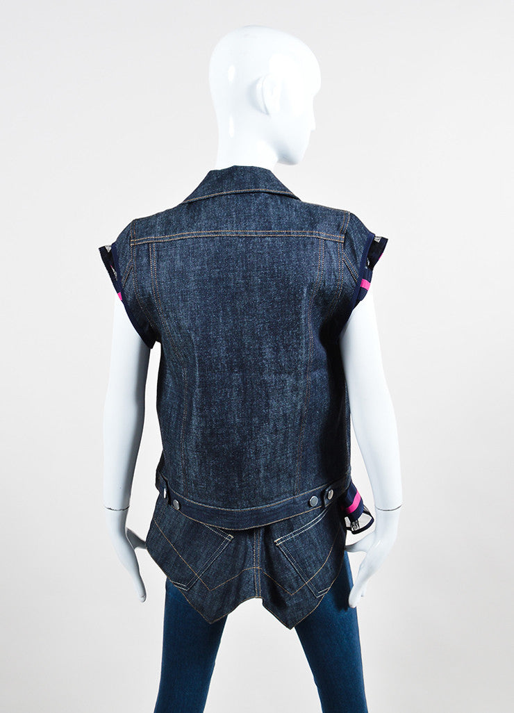 Blue and Pink Sacai Striped Mesh Denim Layered Cap Sleeve Vest Set Backview