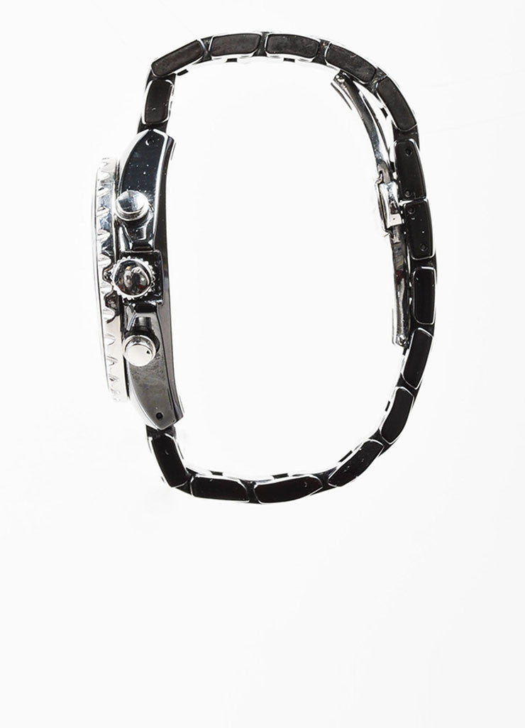 Black and Silver Toned Tamara Comolli Cermaic Large Chronograph Bracelet Watch Sideview 2
