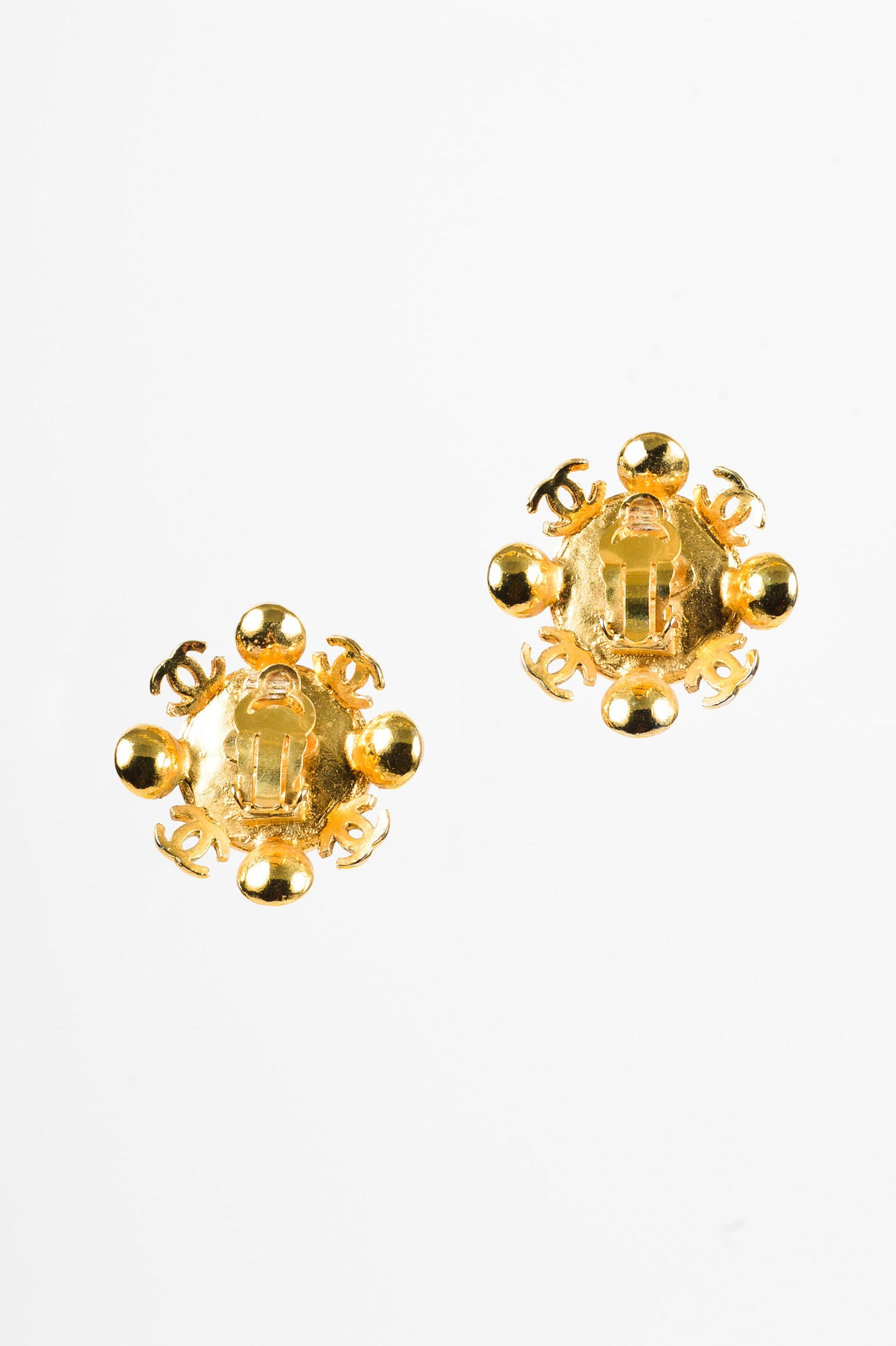 Chanel Gold Toned and Faux Pearl 'CC' Clip On Earrings Backview