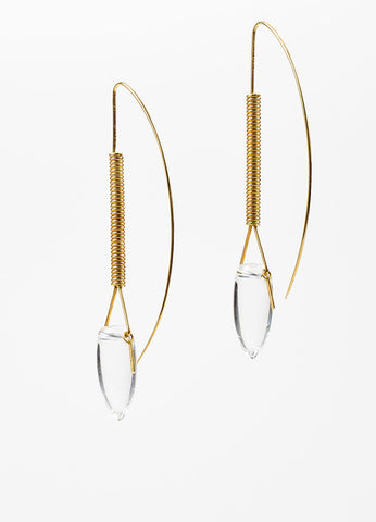 "Tina Chow 18K Yellow Gold and Clear Rock Crystal ""Amfora"" Drop Earrings Backview"