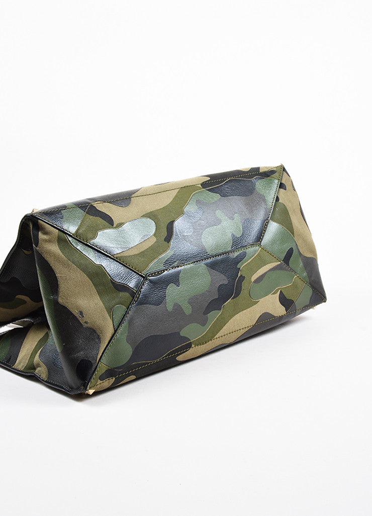 "Valentino Garavani Green and Black Canvas and Leather Camo ""Rockstud"" Tote Bottom View"