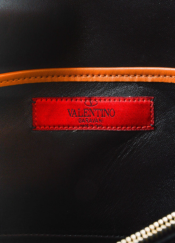 Tan, Pink, and Black Color Block Valentino Leather Rectangle Clutch Bag Brand
