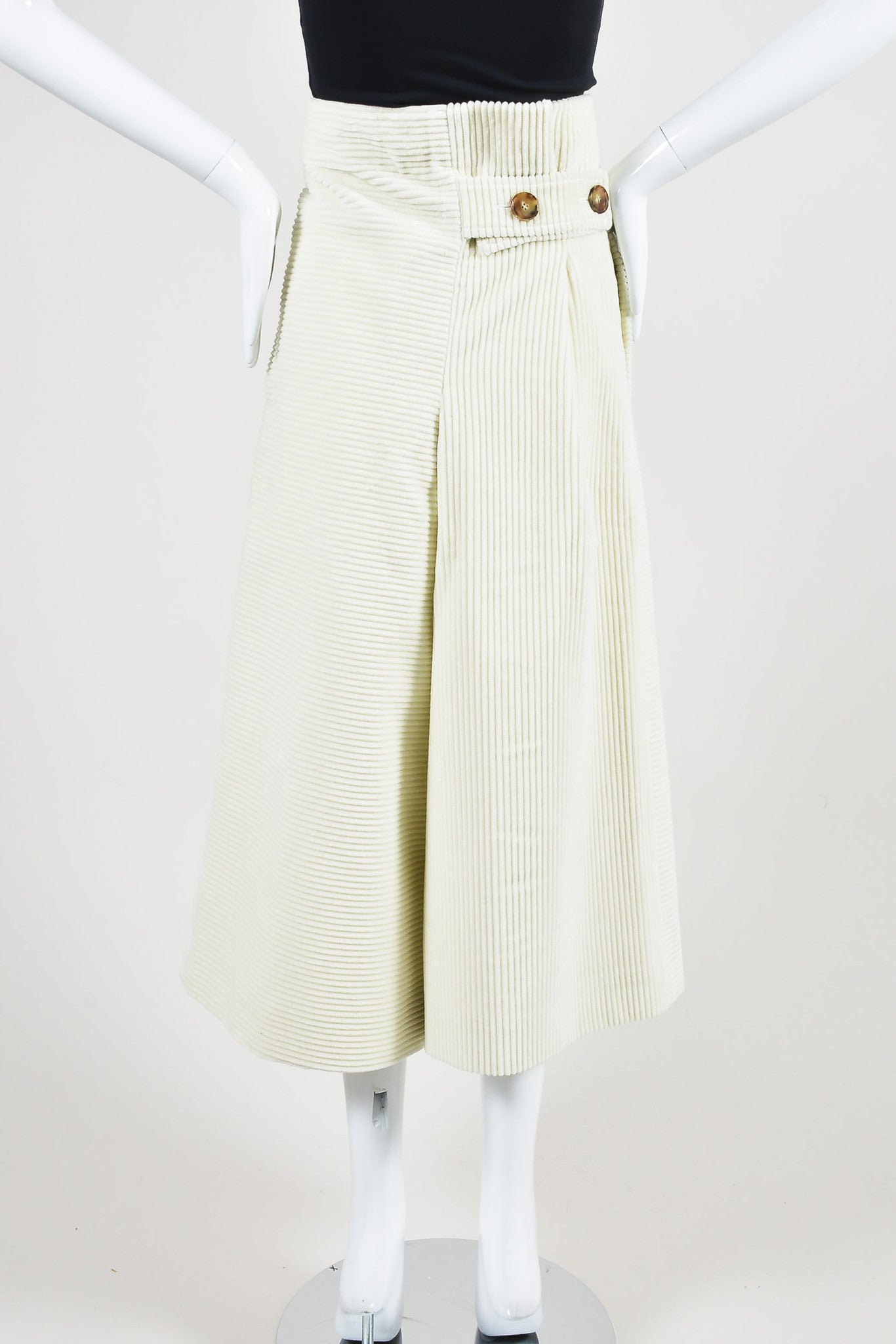 Victoria Beckham Cream Corduroy Textured Culottes Backview