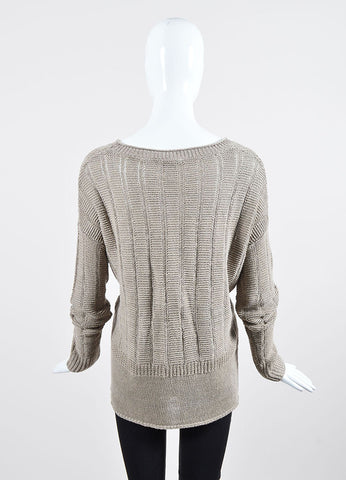 Tan Vince Woven Linen Pullover Sweater Back