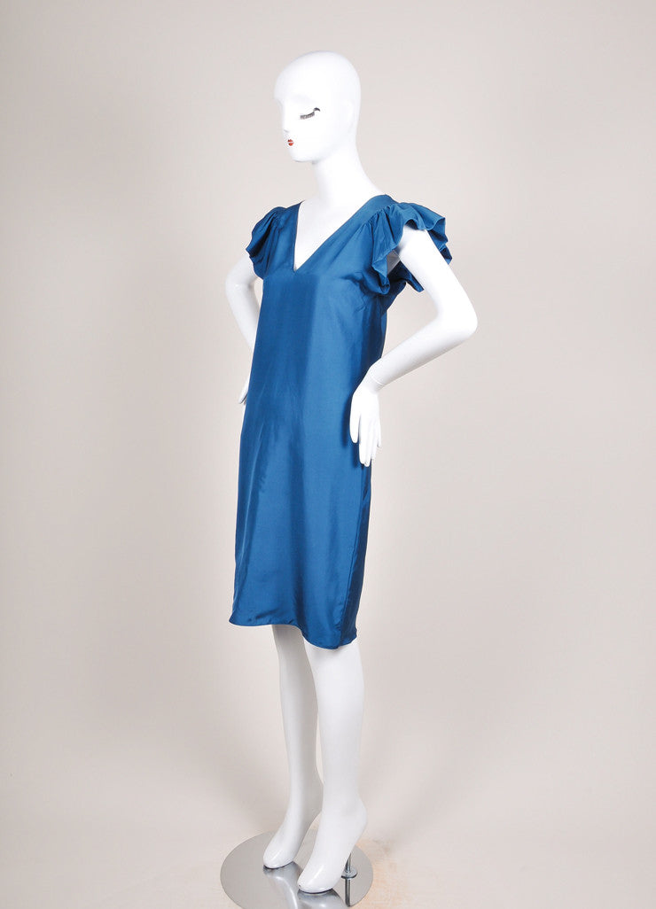 Yves Saint Laurent Teal Blue Silk Butterfly Sleeve Dress Sideview