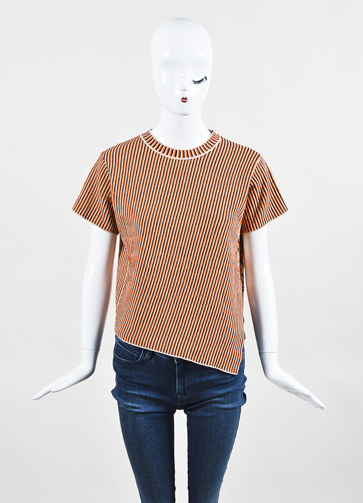 "Acne Studios Cream and Orange Jacquard Knit ""Jana Stripe"" T-Shirt  Frontview"