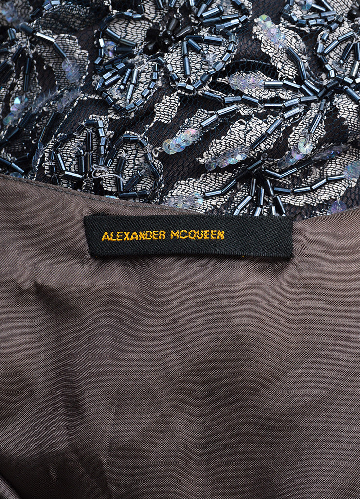 Alexander McQueen Grey and Black Floral Bead Embellished Dress Brand