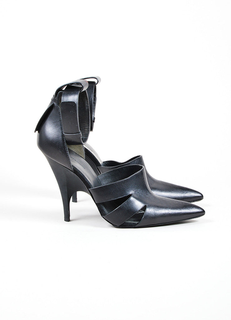 "Alexander Wang Black Leather Cut Out Pointed Toe Ankle Strap ""Joan"" Heels Sideview"