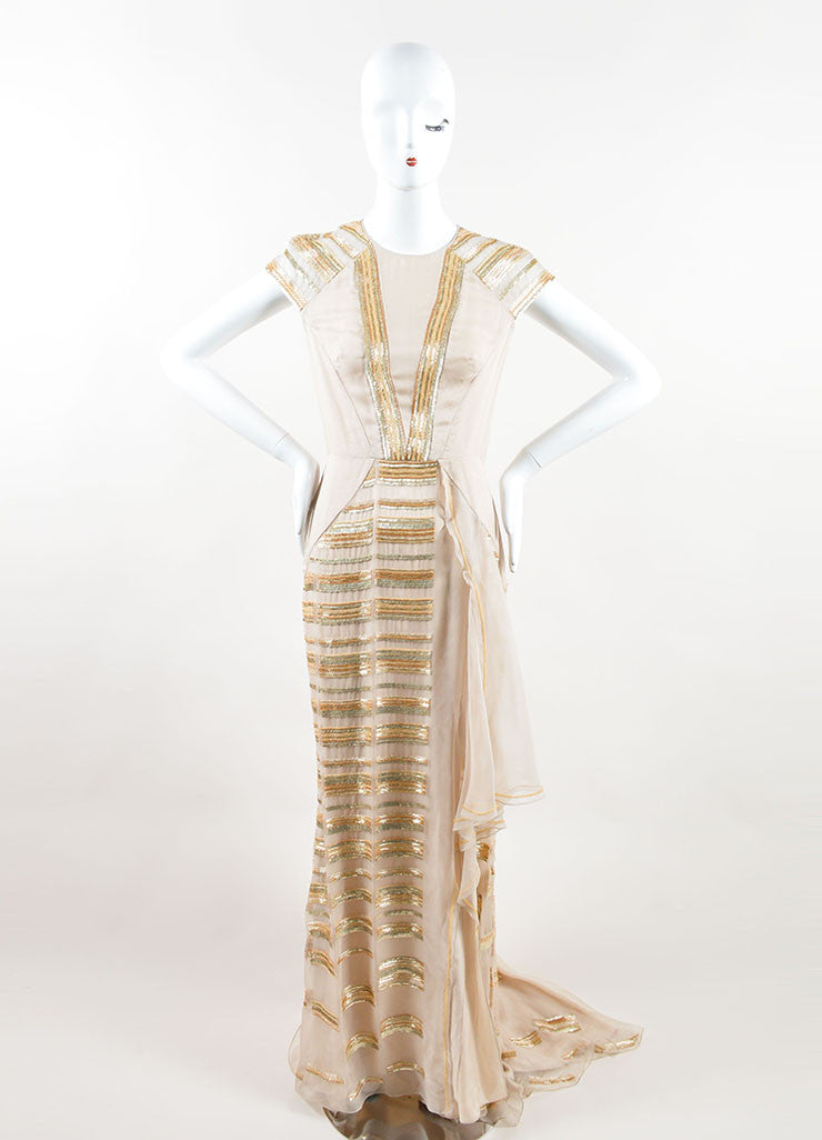 Bibhu Mohapatra Beige Silk Gold Sequin Beaded Cap Sleeve Gown Frontview