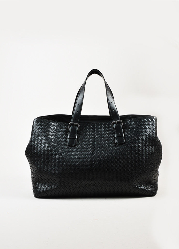 Bottega Veneta Black Intrecciato Woven Leather Buckle Strap Oversized Tote Bag Frontview