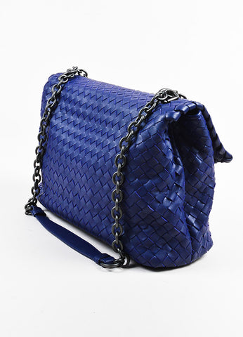 "Blue Bottega Veneta Leather Intrecciato Medium ""Olimpia"" Shoulder Bag Back"