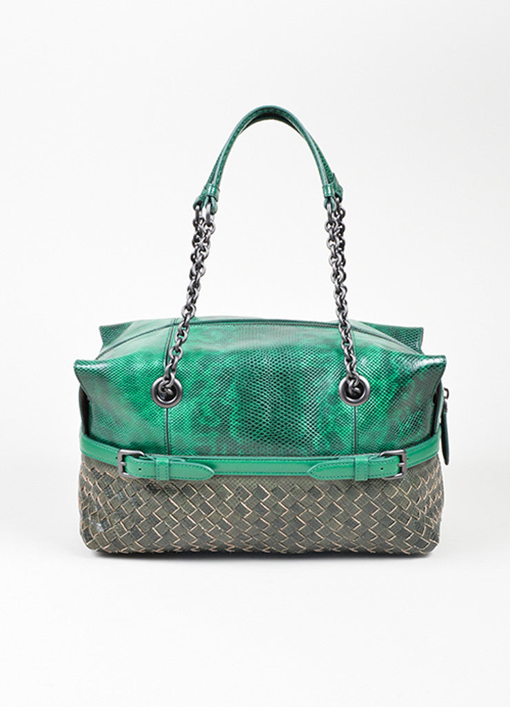 Green and Grey Bottega Veneta Lizard Leather Chain Strap Satchel Bag Frontview