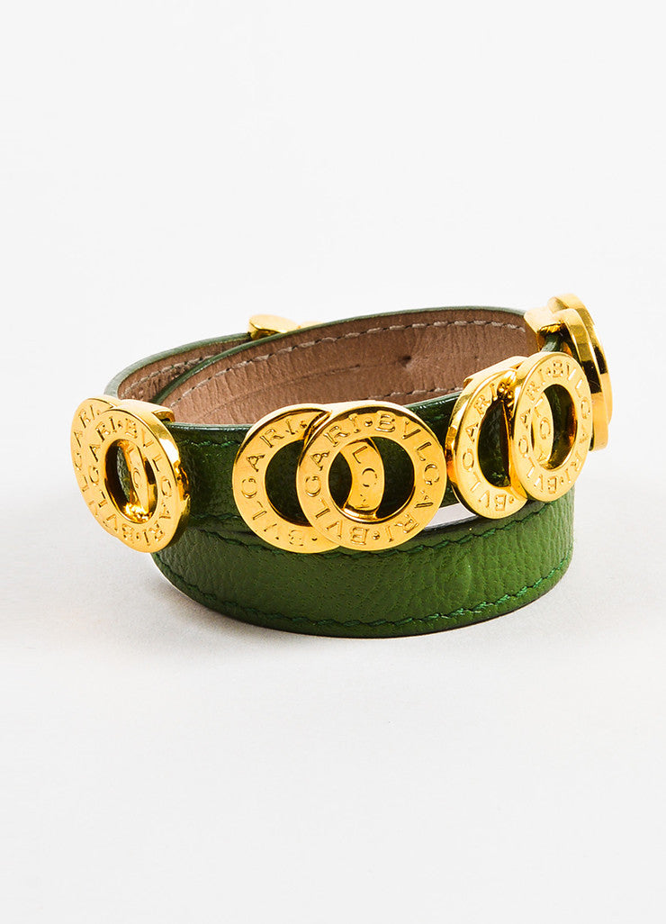"Bulgari Green and Gold Toned Calfskin Double Coiled ""Nice to Have"" Wrap Bracelet Frontview"