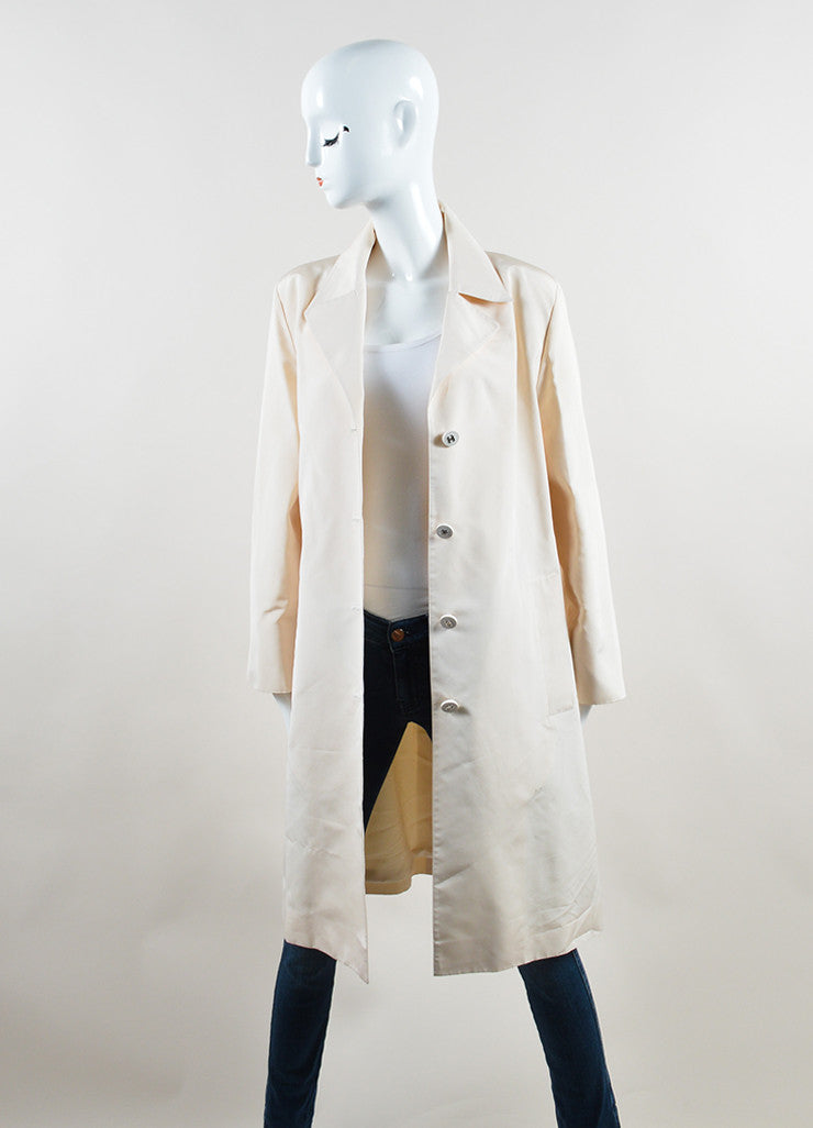 Chanel Cream Silk Long 'CC' Button Belted Jacket Frontview