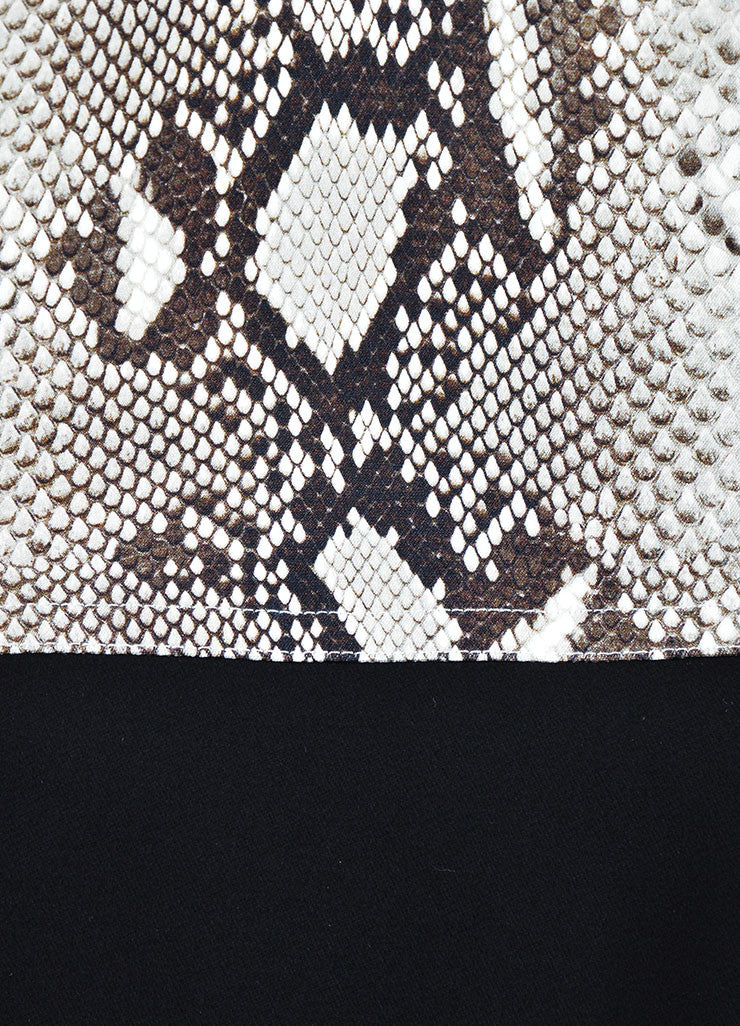 Black and White Carven Snakeskin Print Colorblock Long Sleeve Sheath Dress Detail