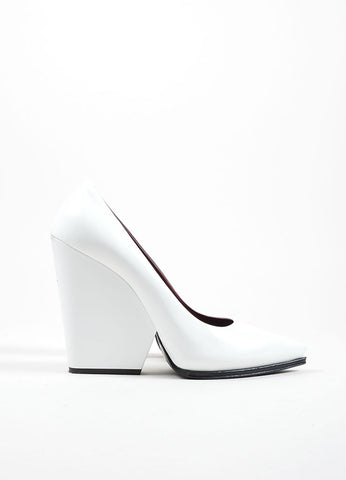 Celine White Leather Chunky Wedge Heel Pointed Toe Pumps Sideview