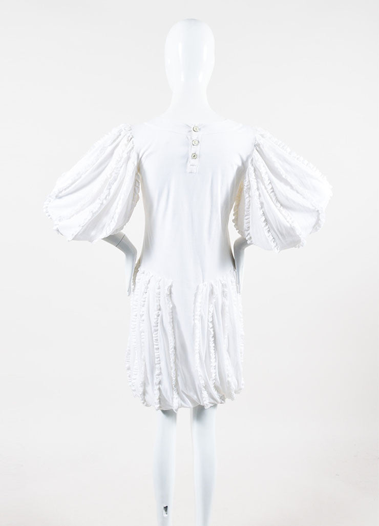 White Cotton Chanel Ruffled Crop Sleeve Bubble Dress Back