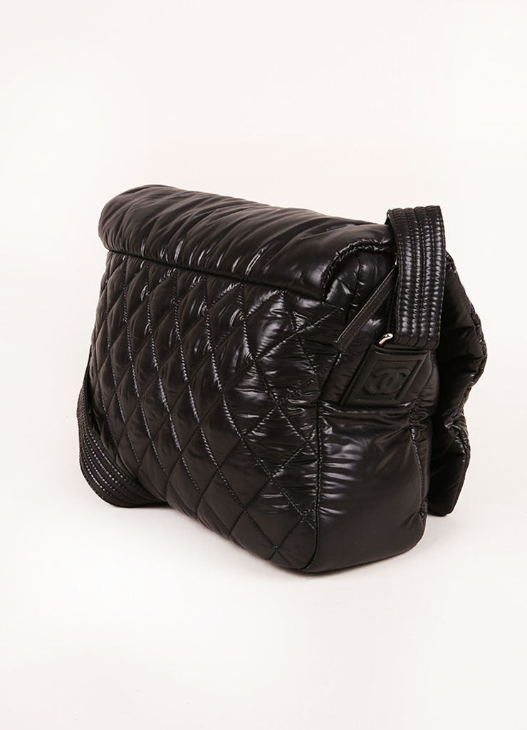 Black Chanel Padded and Quilted Nylon Messenger Bag Sideview