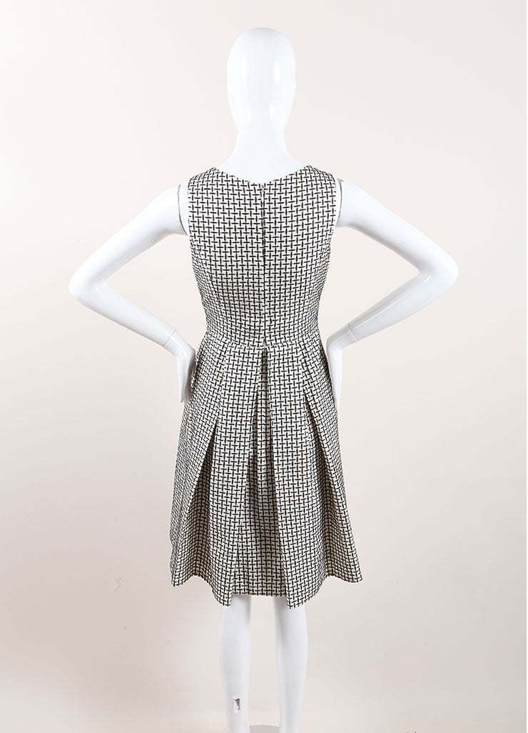 Chanel Black and White Cotton and Silk Woven Sleeveless Pleated A-Line Dress Backview