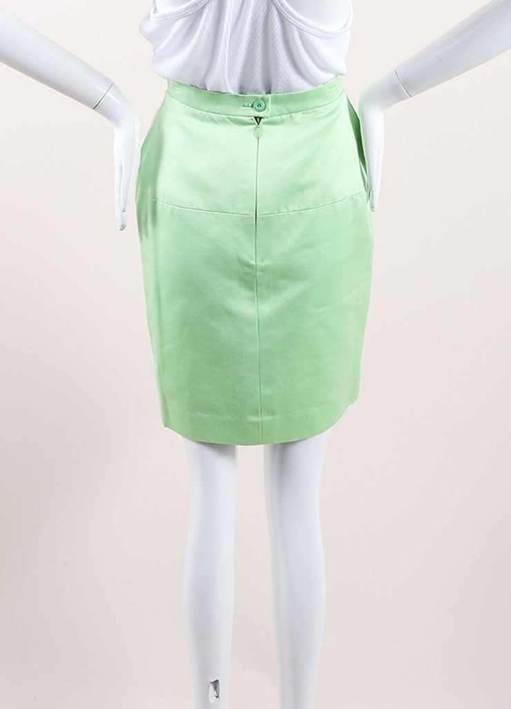 Chanel Lime Green Poplin Woven Pencil Skirt Backview