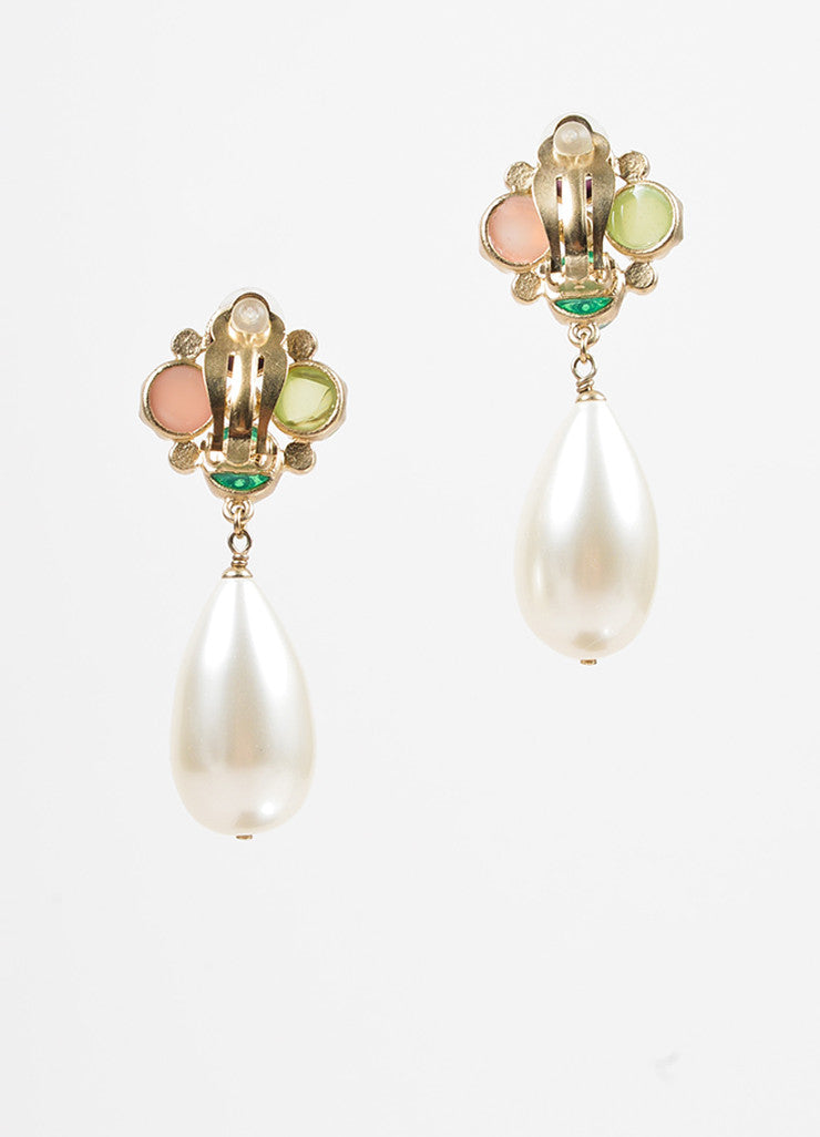 "Chanel Multicolor Resin Gold Toned Metal Faux Pearl Crystal ""CC"" Clip On Earrings Backview"