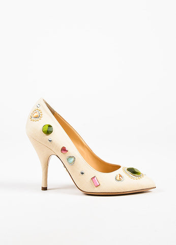 "Charlotte Olympia Natural Linen ""Bejeweled Etta"" Pumps"