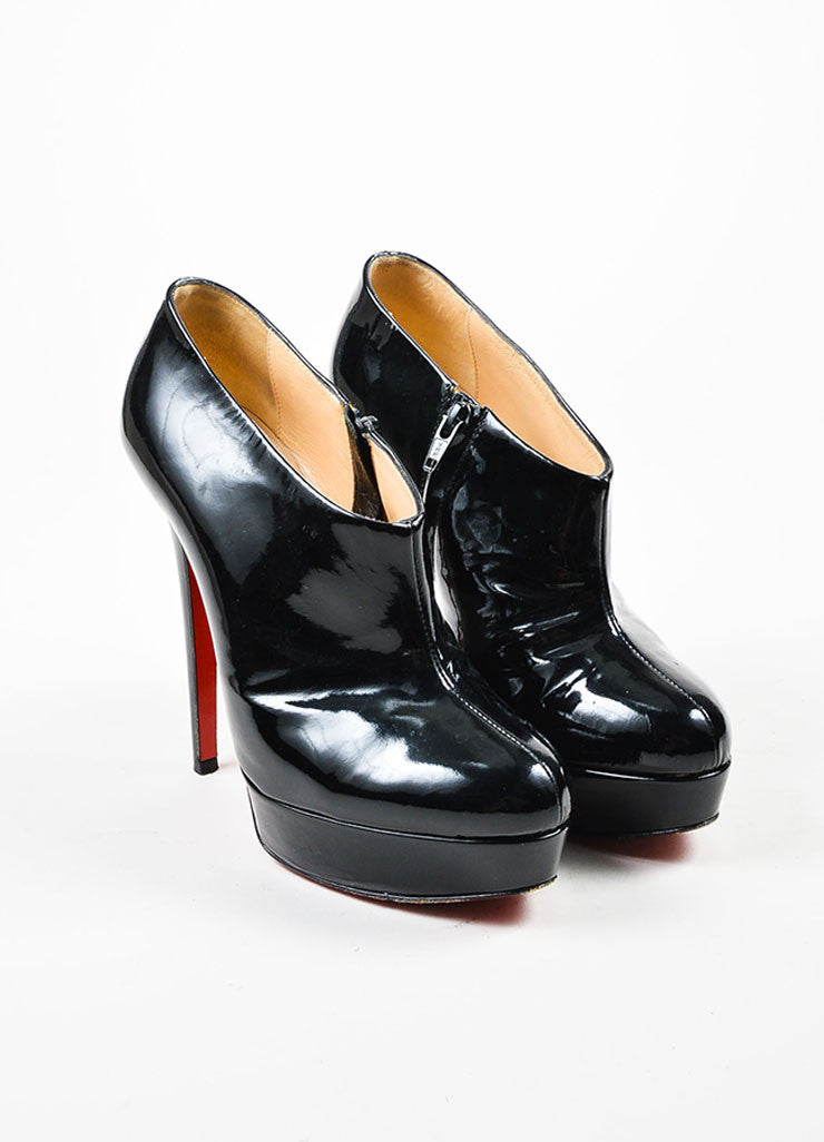 "Black Christian Louboutin Patent Leather ""Moulage"" Ankle Booties Frontview"