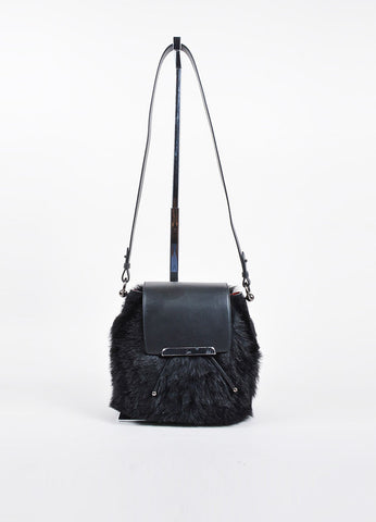 "Christian Louboutin Black Leather Faux Fur ""Lucky L"" Bucket Backpack Frontview"