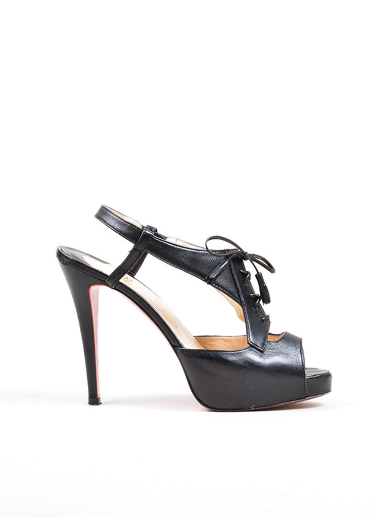 "Black Christian Louboutin Leather Laced Peep Toe ""Sometimes"" Heels Sideview"