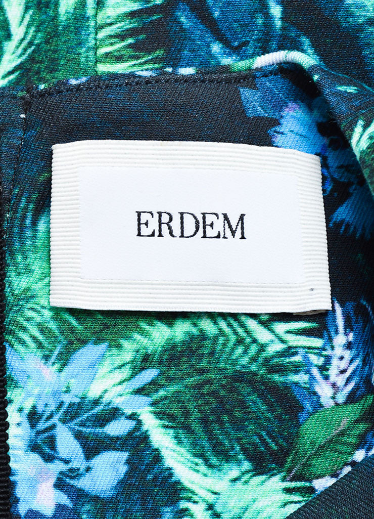 Erdem Green and Blue Tropical Floral Print Short Sleeve Dress Brand